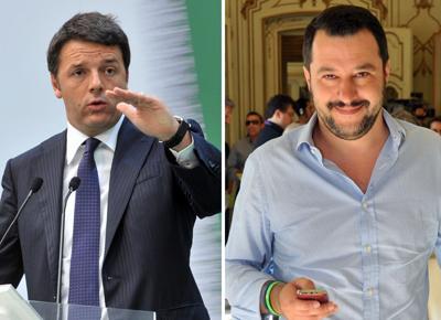 Matteo Renzi e Matteo Salvini. Photo Formiche.Net http://www.formiche.net/2015/02/08/tutte-le-affinita-i-due-matteo-al-centro-della-ribalta/